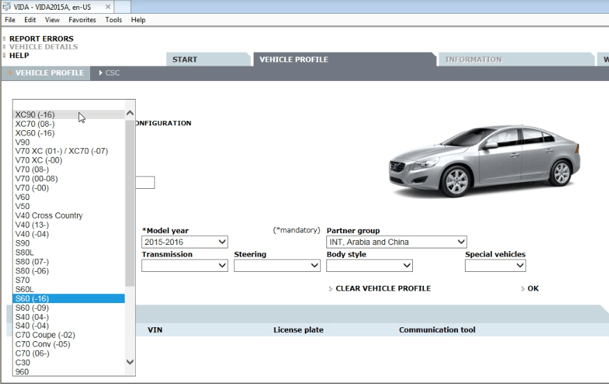 VOLVO VIDA DICE 2015A diagnosits software menu